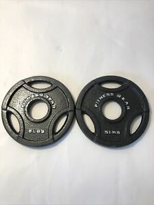 """(2) 5 lb FITNESS GEAR Olympic 2"""" Grip Weight Plates Cast Iron - 10 Pounds Total"""