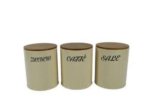Barattoli in latta caffè zucchero sale set 3 pz barattolo coperchio tappo legno