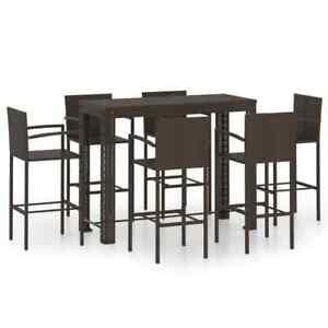 7 Piece Outdoor Bar Set with Armrest Poly Rattan Brown Garden Patio Furniture