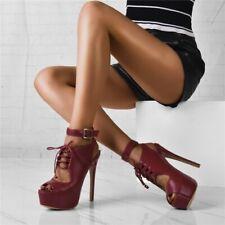 Womens High Platform Heels Open Toe Slingbacks Buckle Strap Lace Up Stilettos