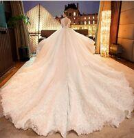 Gogerous Wedding Dresses with Cathedral Train Bridal Gown Lace Vestidos de Novia