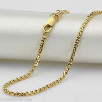 FINE 18 INCH 18K Yellow Gold Necklace Round Box Link Chain Necklace Au750