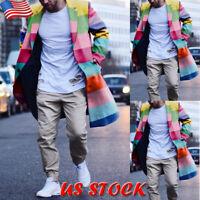 Mens Winter Rainbow Overcoat Wool Trench Coat Casual Long Jacket Peacoat Outwear