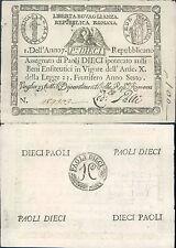 REPUBBLICA ROMANA,ASSEGNATO DA 10 PAOLI,RETRO CERCHIO, FIOR DI STAMPA