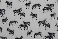 SALE!!! Zebra Chiffon Georgette Print Dress Fabric Material (Ivory Black)