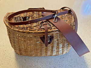 LL Bean Wicker Fishing Creel with Leather Trim: New without tags, Retired Model
