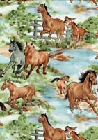 Horses Running Free Sewing Quilting Fabric Patchwork  Cotton 50cm x 52.5cm