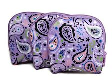 Beauty First Purple Paisley Pattern Zipper Cosmetic Jewelry Makeup Bags Set of 3