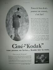 PUBLICITE DE PRESSE KODAK CINE-KODAK APPAREIL CINEMATOGRAPHIQUE FRENCH AD 1930