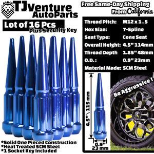 "16pc Blue 4.5"" Tall 12x1.5 Spline Spike Lug Nut+Key Fit Chevrolet Ford Mercury"