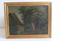 original Ölgemälde a. Holz Robert Stratmann *1877 Hannover Gehöft im Münsterland