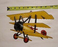 Vintage 1975 Homco yellow cast Metal Airplane wall art Usa