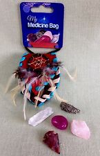 Medicine Bag Multi Color Leather Pouch Leather Bag Purse Crystal Healing Reiki.