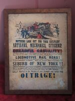 "FRAMED PRINT: VINTAGE STYLE ""LOCOMOTIVE RAIL ROAD"" OUTRAGE"