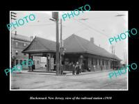 OLD LARGE HISTORIC PHOTO OF HACKENSACK NEW JERSEY, ERIE RAILROAD STATION c1910