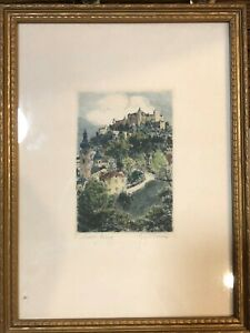 """Original Colored Salzburg Signed Etching Print, Framed, 3"""" x 4 1/2"""" (Image)"""