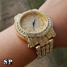 Men Best Hip Hop Iced out Bling Gold PT Blue Hands Bling Simulated Diamond Watch
