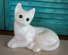 Vintage Elpa Elcobaca Pottery Ceramic Cat White Green Eyes Portugal Ink Stamp