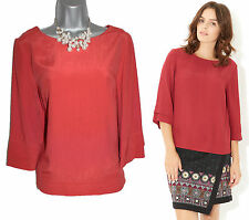 MONSOON Burnt Red Iris T Shirt Blouse Top Casual Formal 3/4 Sleeves UK 10  EU 38
