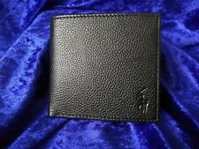 GENUINE POLO RALPH LAUREN Leather Billfold Coin Wallet BLACK PEBBLE