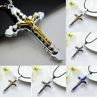 New Men's Stainless Steel Cross Jesus Pendant Necklace With Black Leather Chain