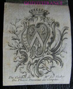 EXL052 - Ex-Libris Louis Der V Des Plessis Rechtsanwalt Konten- - 18. Jhd.