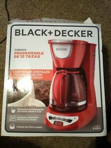 Black & Decker DCM100R 12-Cup Programmable Coffeemaker with Glass Carafe, RED