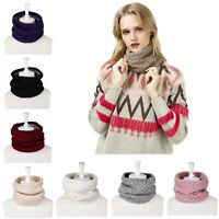 Winter Fleece Lined Knitted Neck Warmer Scarf Neck Gaiter for Women Men Infinity