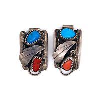 VTG Estate Navajo Hallmark Sterling Silver, Coral & Turquoise Watch Tips! 8