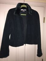 THE BARRAGE CO MICROFIBER FLEECE FUR ZIP JACKET SUPER SOFT COAT WOMENS SIZE L
