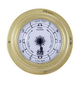 Tidenuhr, Ship's Clock, Maritime Tide Watch IN Brass Case Ø 3 7/8in