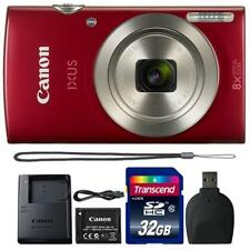 Canon IXUS 185 / ELPH 180 20MP Digital Camera Red and 32GB Accessory Bundle
