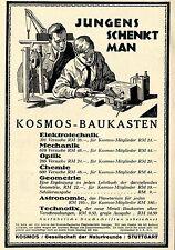 Kosmos Baukästen Elektrotech. Mechanik Optik Chemie Historische Reklame von 1929