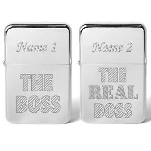 Personalised His & Hers Two Petrol Lighters The Boss Real Boss Valentines Gift
