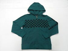 Quiksilver Boys Checks Hoodie Sweater Zip Front Jacket Long Sleeve Sz Medium 12