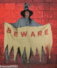 HANGING ANIMATED HALLOWEEN BEWARE SIGN LIGHT UP WITCH WITH SOUND DECORATION PROP