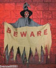 Colgante Animado Halloween Bruja cuidado con signo luz con sonido Decoración Utilería