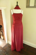 Dark Red Full Length Chiffon Formal Dress With Scarf - Size 8