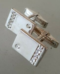 VINTAGE .925 Sterling Silver crytals clear  cufflinks Cuff links