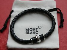 "Montblanc Contemporary Collection 8.7"" Woven Black Leather & Stainless Bracelet"