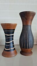 Mango Wood Vase Line Pattern Style Thai Handmade Handicraft Home Decoration