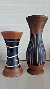Vintage Mango Wood Vase Popular Line Pattern Style Thai Handicraft Home Decor