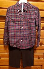 Ralph Lauren Polo Boys Plaid Shirt/Corduroy Pants Set -Red/Blue/Blk -Size 5 *Euc