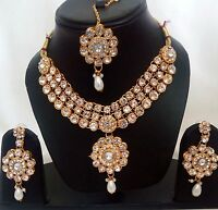 Indian Traditional Kundan White color Set Necklace and Earring Gold Plated