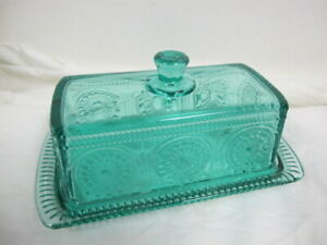PIONEER WOMAN TEAL GLASS EMBOSSED BUTTER DISH TEAL