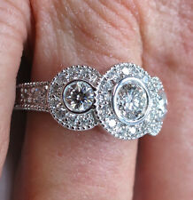 1.50 carat 3 Stone Round Diamond Vintage style 14k White Gold Wedding Ring G-SI1