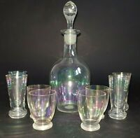 Vintage Iridescent Glass Liqueur Decanter & Eight Glasses c1930s Opalescent :A10