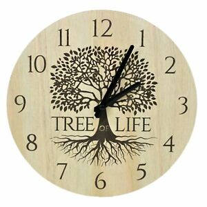 Small Wooden Tree of Life Design Wall Clock Analogue Home Office Time Display