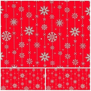 XMAS SNOWFLAKES  Polycotton Fabric Craft RED PER Metre  MATERIAL