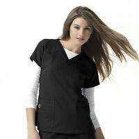 WonderWink Women's Scrubs 6214 Four Way Stretch Sporty V-Neck Scrub Top Black